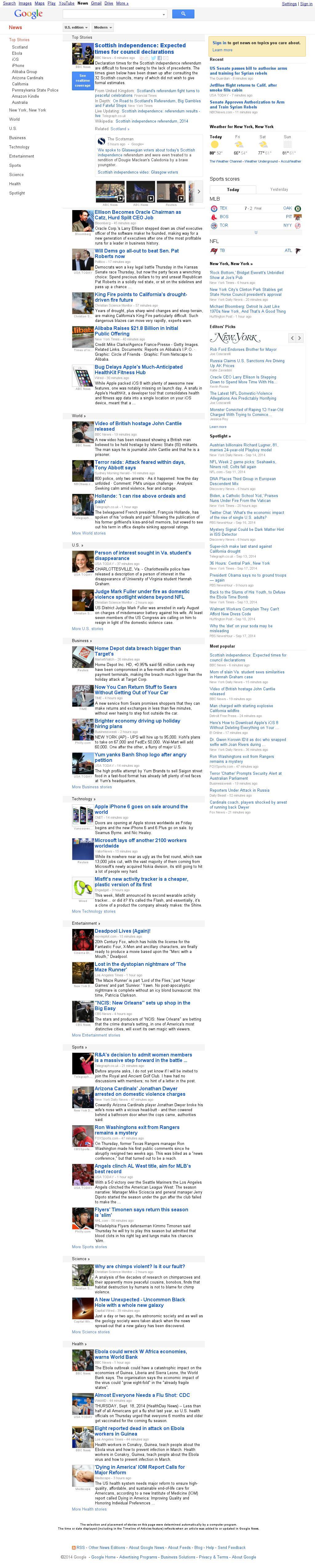 Google News at Thursday Sept. 18, 2014, 11:07 p.m. UTC