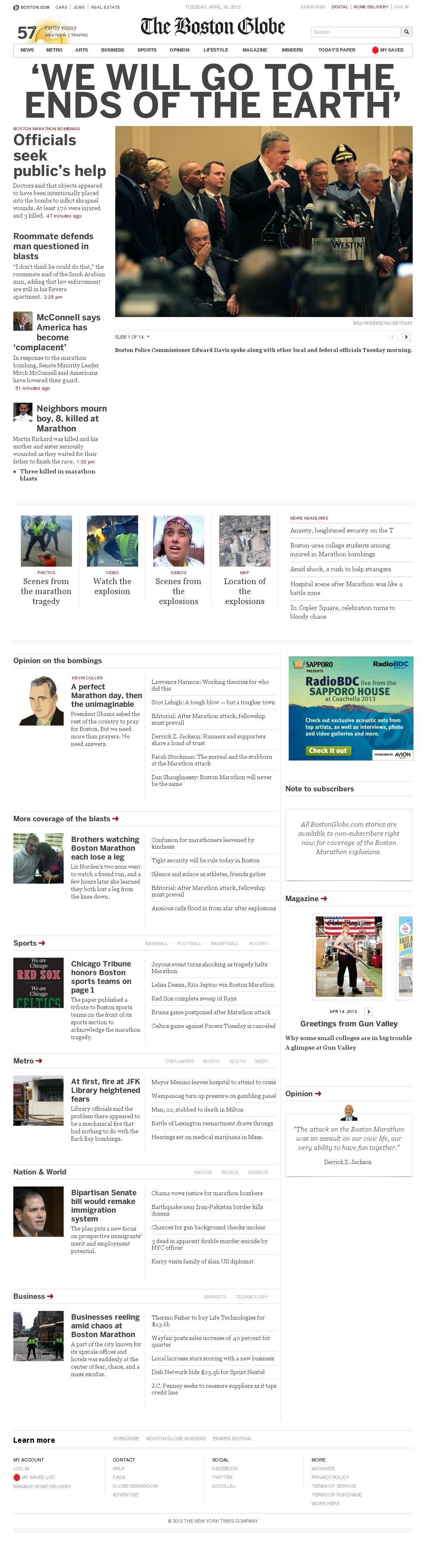 The Boston Globe at Tuesday April 16, 2013, 4:02 p.m. UTC